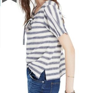 Madewell Striped Lace-Up Boxy Top Size S